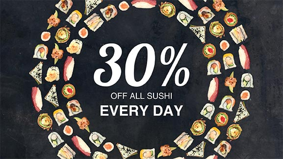 CTFM Birthday Promotion 30% off sushi every day